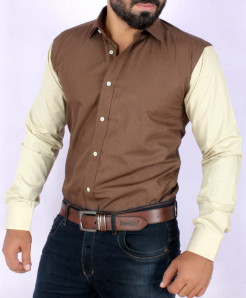 Brown With Off White Contrast Stylish Shirt FW-08