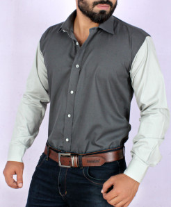 Charcoal With Light Grey Contrast Stylish Shirt FW-09