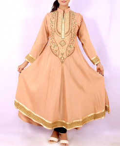 Peach Khaki Neck Embroidered Stylish Kurti KC-3302