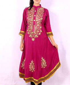 Hot Pink Front Embroidered Stylish Kurti KC-3312