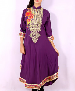 Purple Front Embroidered Stylish Kurti KC-3313