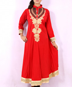 Red Front Back Embroidered Stylish Kurti KC-3317
