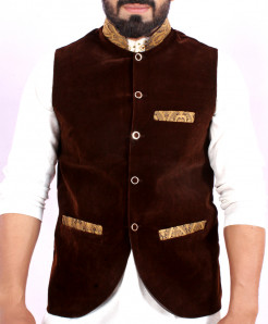 Choco Brown Velvet Stylish WaistCoat ABS-14