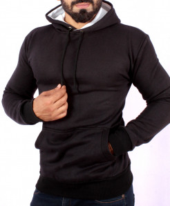 Black Winter Fashion Fleece Kangaroo Hoodie FS-1012