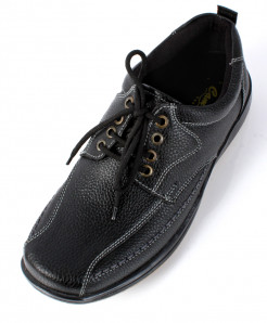 Black Textured Leather Laces Up Casual Shoes SC-14