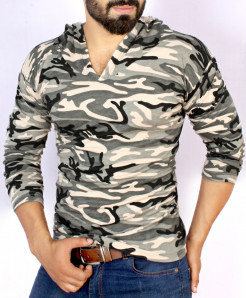 Grey Camouflage Terry V Neck Pullover Hoodie FS-1021