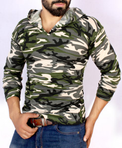 Green Camouflage Terry V Neck Pullover Hoodie FS-1022