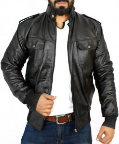 Black Flap Pocket Rib Style Leather Jacket