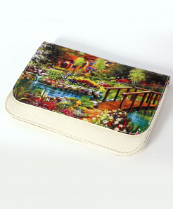 White Home Scenery Stylish Ladies Clutch GL-1201