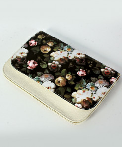 White Floral Design Printed Stylish Clutch GL-1206