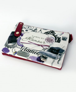 White Printed Design Zippered Stylish Clutch GL-1213