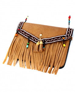 Light Brown Stripping Design Stylish Clutch GL-1219