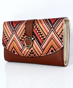 Brown Varicolored Design Ladies Clutch GL-1228