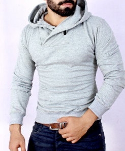 H Grey Button Embellished Style Fleece Hoodie FS-2514