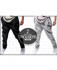 Pack of 2 Black And Grey Korean Trousers