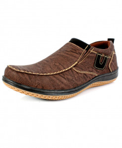 Choco Brown Stitched Design Stylish Slip On Shoes SC-13