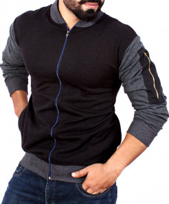 Black Fleece Bomber Jacket With Zip ABS-21