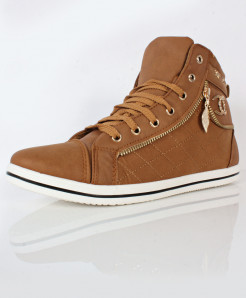 Brown Stitched Size Zip Design Casual Shoes DR-337
