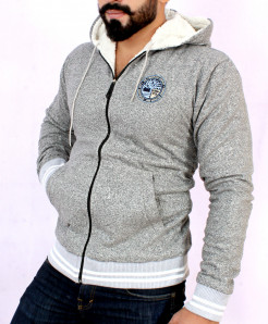 Heather Grey Stylish Hoodie With Fur For Men FSL-018
