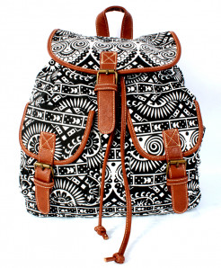 Black Brown Vintage Canvas Ladies Backpack GL-1231
