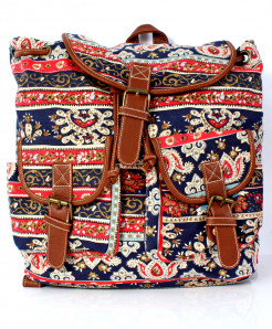 Blue Varicolored Vintage Canvas Ladies Backpack GL-1233