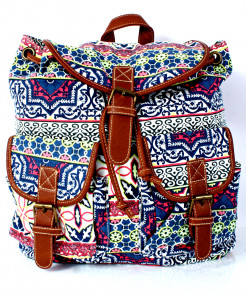 Multicolored  Vintage Canvas Ladies Backpack GL-1234