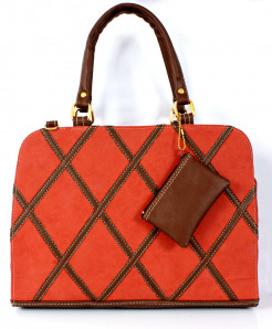 Orange Brown Stitched Design Ladies Handbag WT-3001