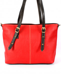 Red Black Stitched Strap Ladies Handbag WT-3015