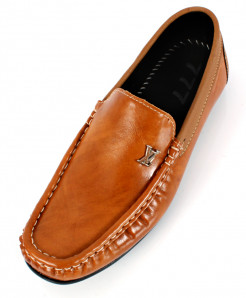 Mustard Brown Stitched Design Loafer Shoes SC-335