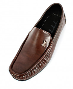 Choco Brown Stitched Design Loafer Shoes SC-335