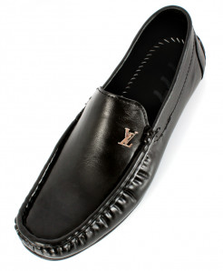 Black Stitched Design Loafer Shoes SC-224