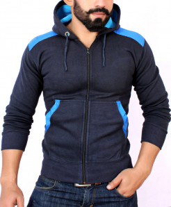 Navy Blue With Sky Blue Contrast Stylish Hoodie For Men FSL-031