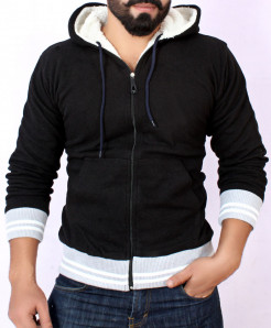 Black Stylish Hoodie With Fur For Men FSL-029