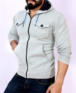 Heather Grey Front Double Pocket Stylish Hoodie FSL-024