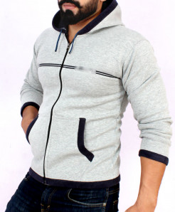 Heather Grey Stylish Hoodie For Men FSL-013