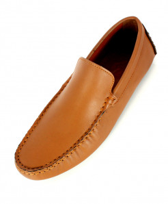 Mustard Leather Stitched Design Loafer Shoes SC-1020
