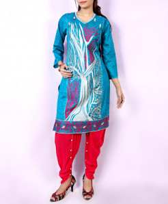 Blue Pink Embroidered Stylish Ladies Suit NM-1008