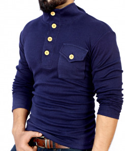 Navy Blue High Neck Button Style Sweat Shirt FS-2541