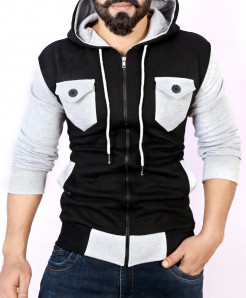 Black Grey Contrast Pocket Style Fleece Hoodie FS-2543