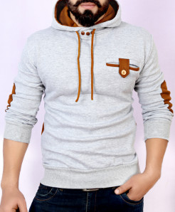 Grey Mustard Loop Pocket Style Fleece Hoodie FS-2546
