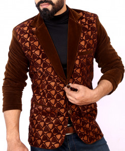 Brown Self Print Stylish Velvet Blazer ABS-26