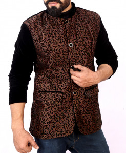 Choco Brown Self Print Stylish Velvet Blazer ABS-27