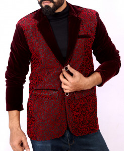 Maroon Self Print Stylish Velvet Blazer ABS-28
