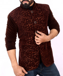 Choco Brown Self Print Stylish Velvet Blazer ABS-29