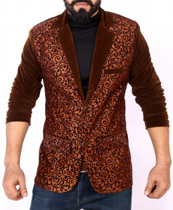 Brown Self Print Stylish Velvet Blazer ABS-30