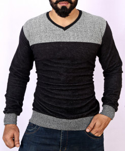 Two Tone Stylish Black Beige Sweat Shirt MWS-039