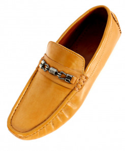 Mustard Stitched Design Plain Loafer Shoes SC-1022