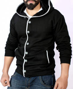 Black Cardigan Tipping Style Fleece Hoodie FS-2551