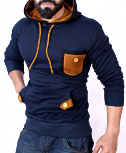 Navy Mustard Thread Fashion Pocket Fleece Hoodie FS-254