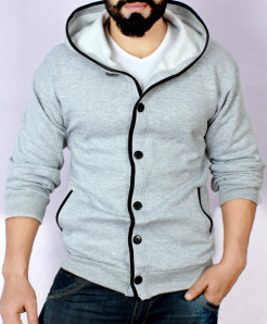 Grey Cardigan Tipping Style Fleece Hoodie FS-2518